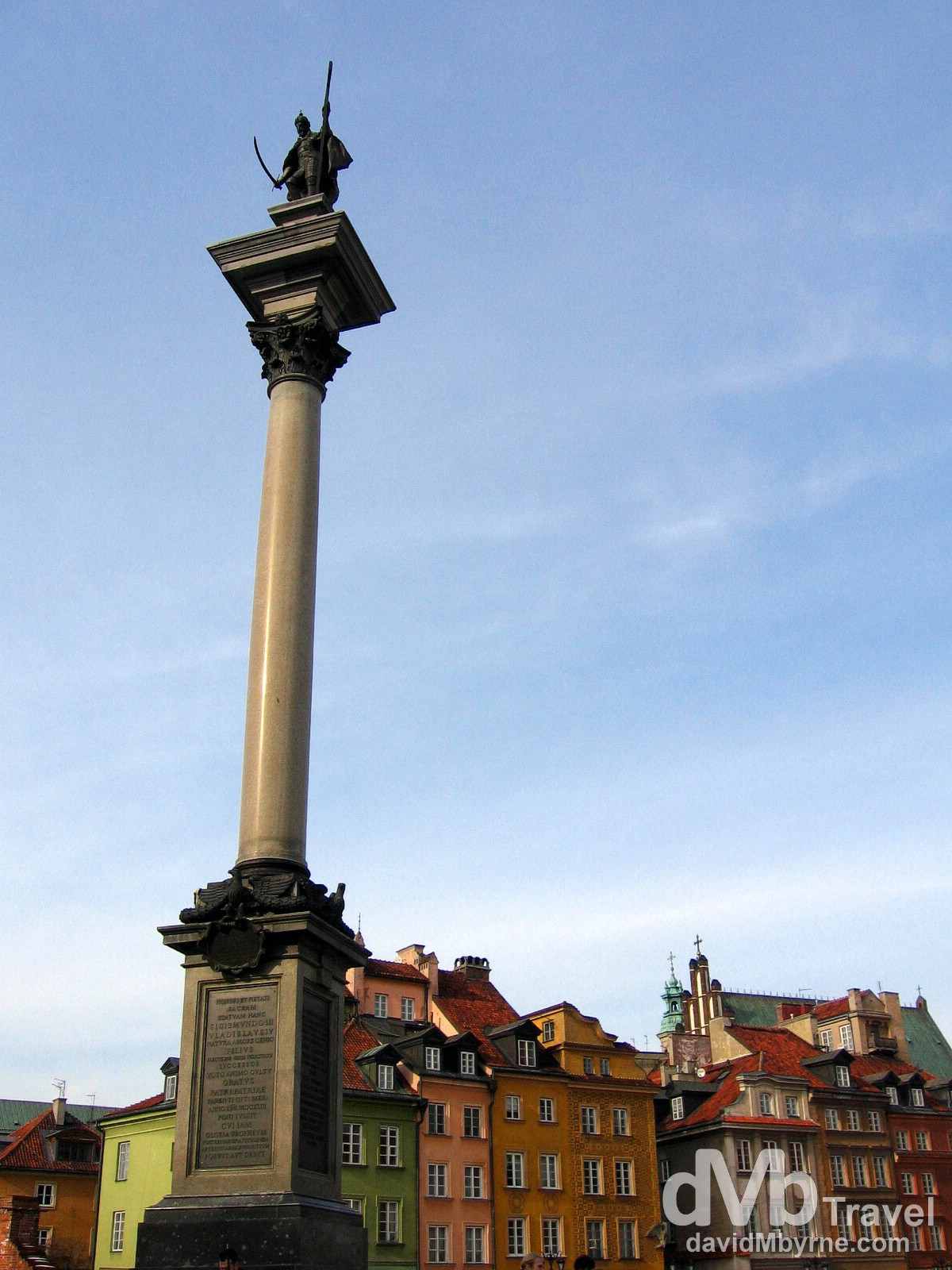 The Sigismund III Vasa pillar/statue in Castle Square, Old Town, Warsaw, Poland. March 5, 2006.