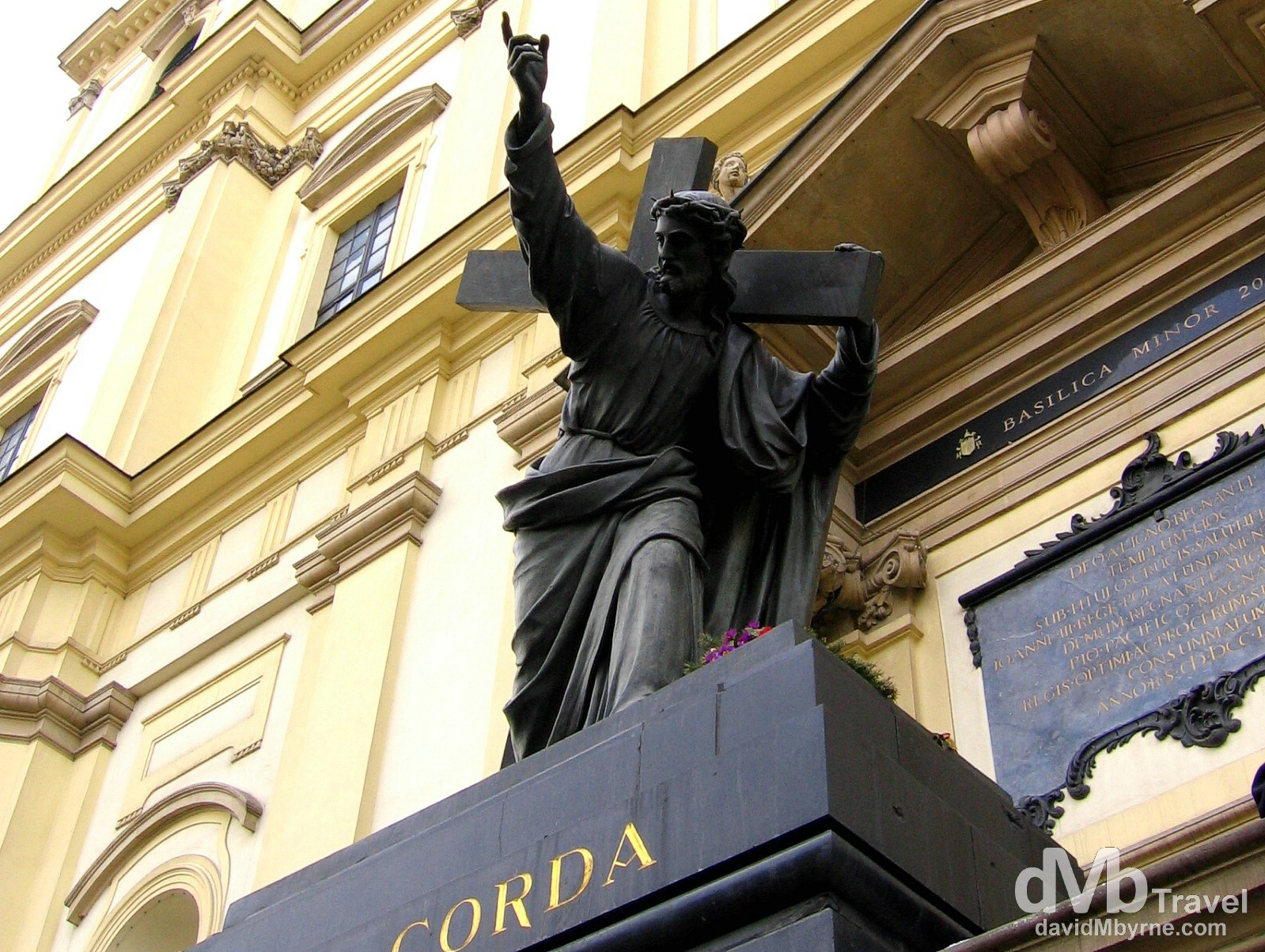 The statue of Christ Bearing His Cross outside the Church of the Holy Cross, in Warsaw, Poland. March 5, 2006.