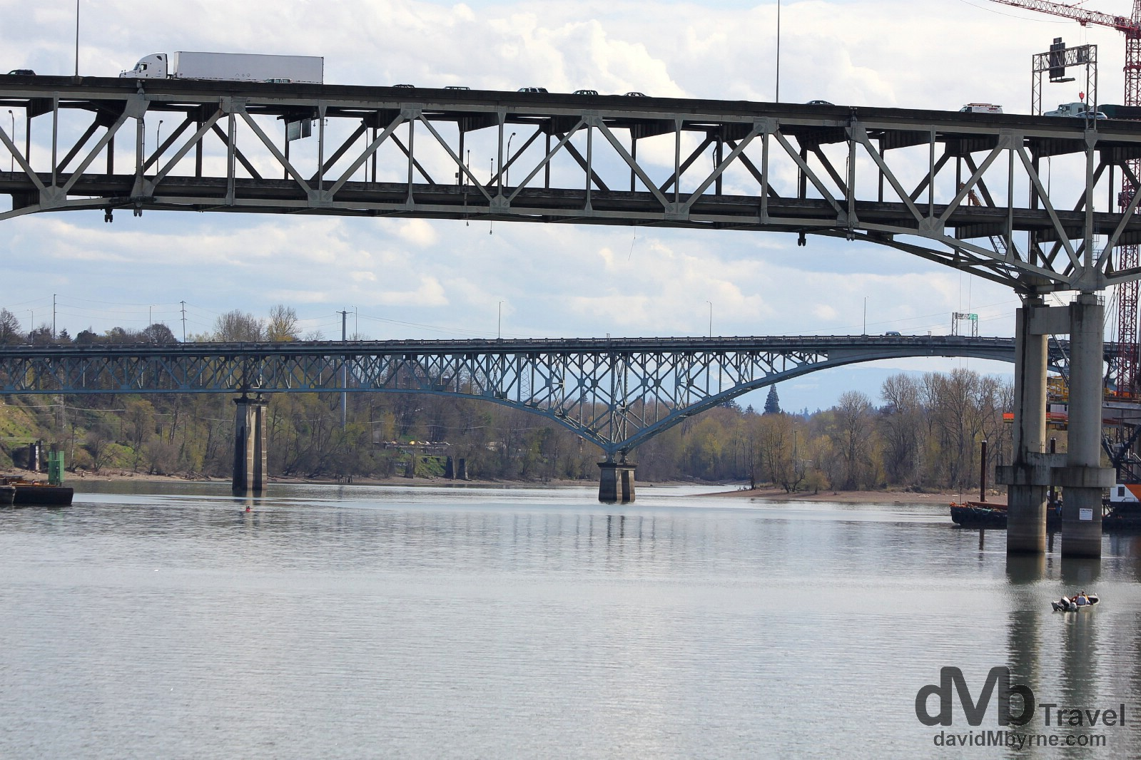 Bridges spanning a section of the Columbia River in Portland, Oregon, USA. March 28, 2013.
