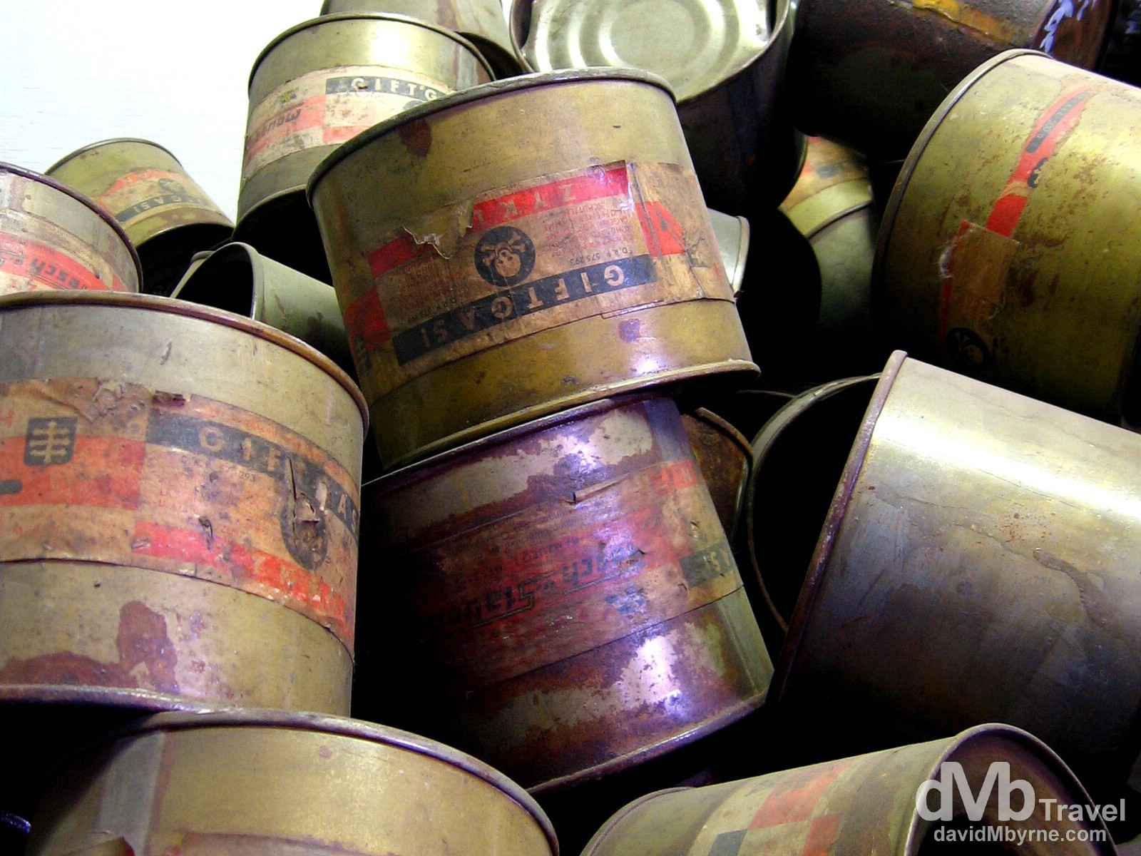Used Cyclon B canisters on display in Block 4 of The State Museum in O?wi?cim (Auschwitz), Poland. March 7, 2006.