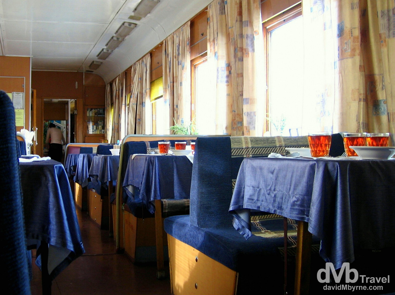 Dining car of the Trans-Siberian from Irkutsk to Tyumen, Russia. February 20, 2006.