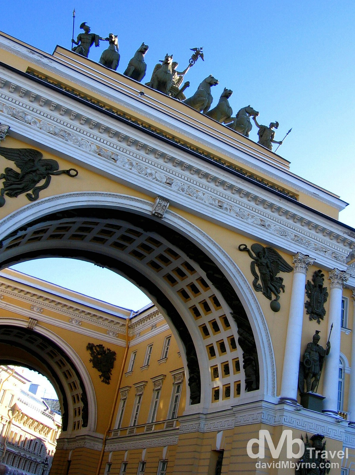The Double Triumphal Arch of the General Staff Building off Palace Square in St. Petersburg, Russia. February 27, 2006.