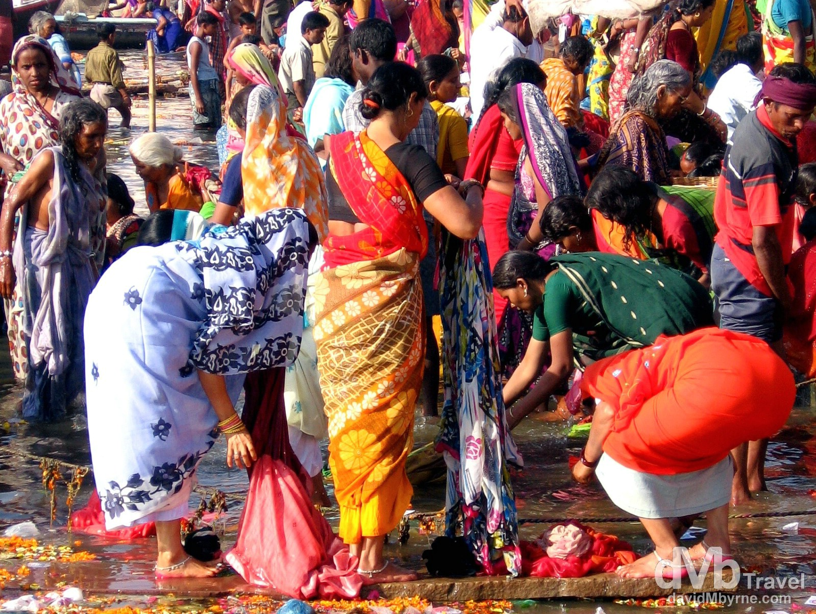 Colorful activity by the edge of the sacred River Ganges in Varanasi, Uttar Pradesh, India. March 18, 2008.