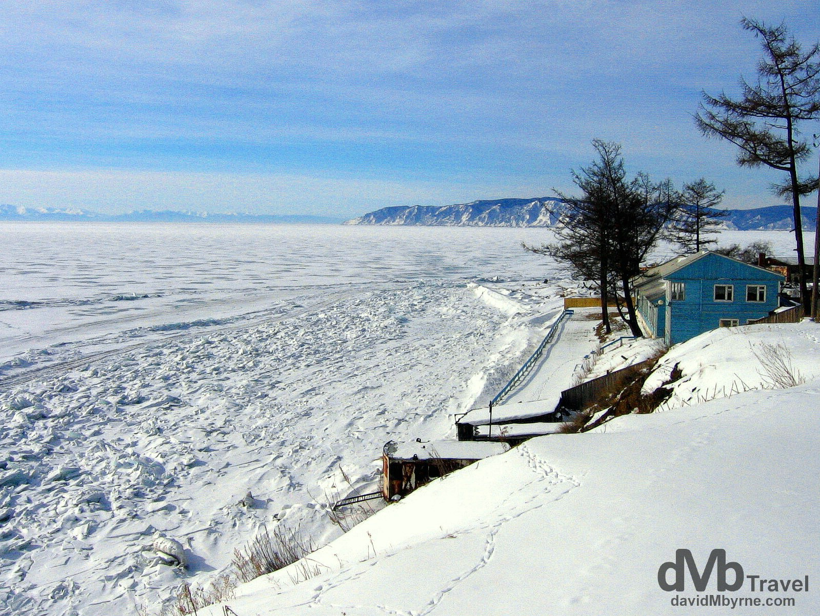 Overlooking Lake Baikal outside the village of Listvyanka in Siberian Russia. February 18, 2006.