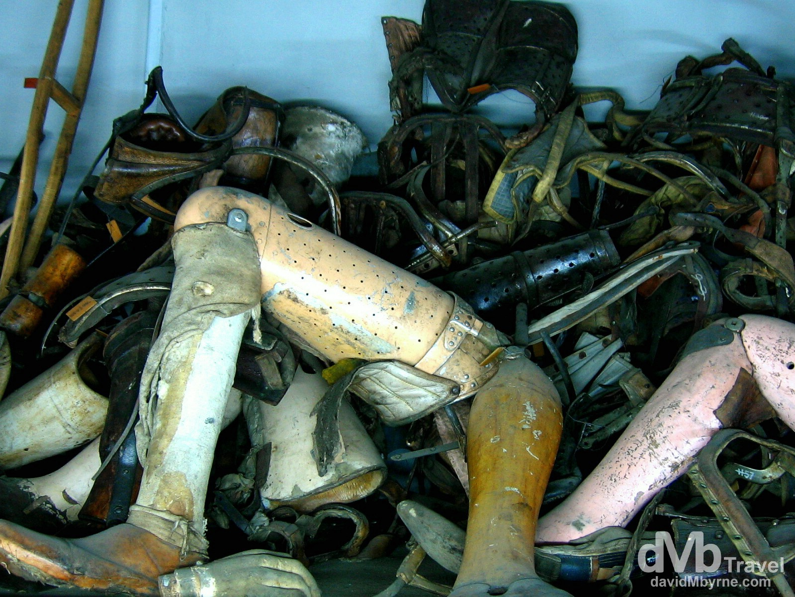 Prosthetic limbs of victims on display in Block 5 of The State Museum in O?wi?cim (Auschwitz), Poland. March 7, 2006.