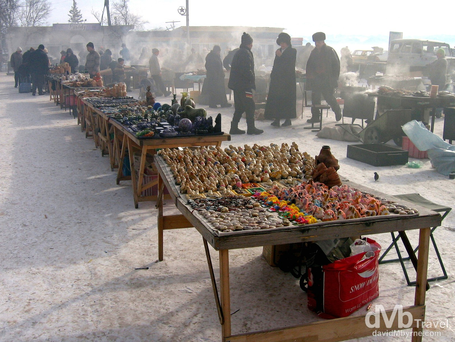Market day in the village of Listvyanka on the shores of Lake Baikal in Siberian Russia. February 18, 2006.