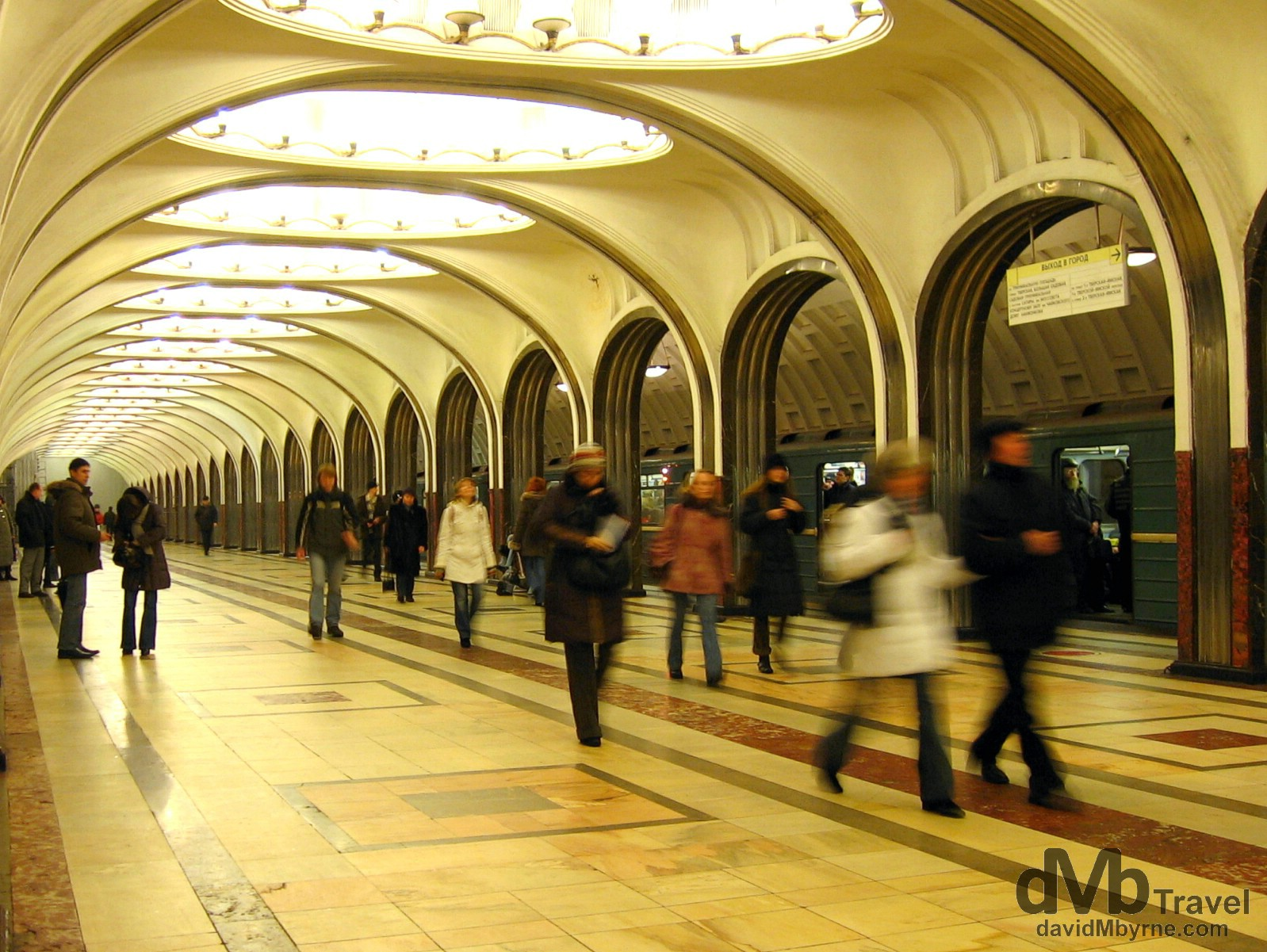 Mayakovskaya metro station. Moscow, Russia. February 25, 2006.