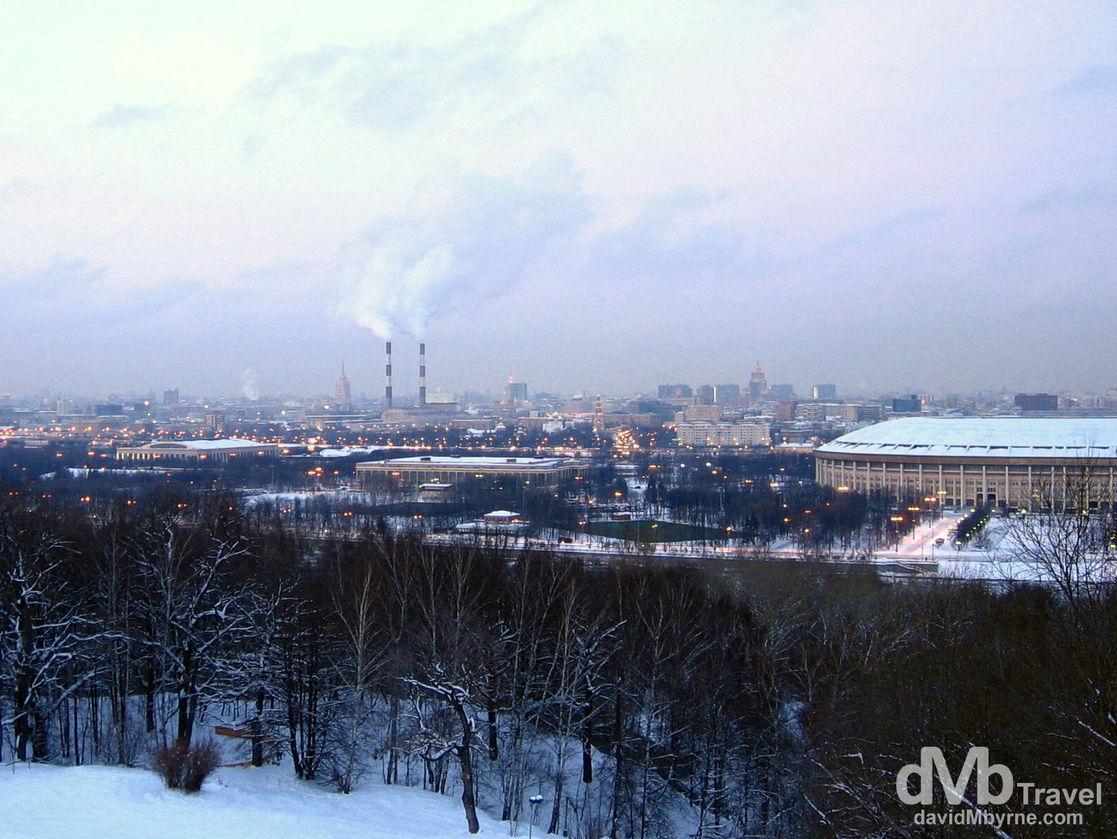 A section of Moscow as seen from Sparrow Hills overlooking the city. Moscow, Russia. February 26, 2006.