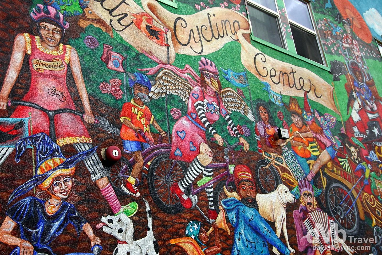 Murals on Alberta street in the Alberta Arts District in Portland, Oregon, USA. March 28, 2013.