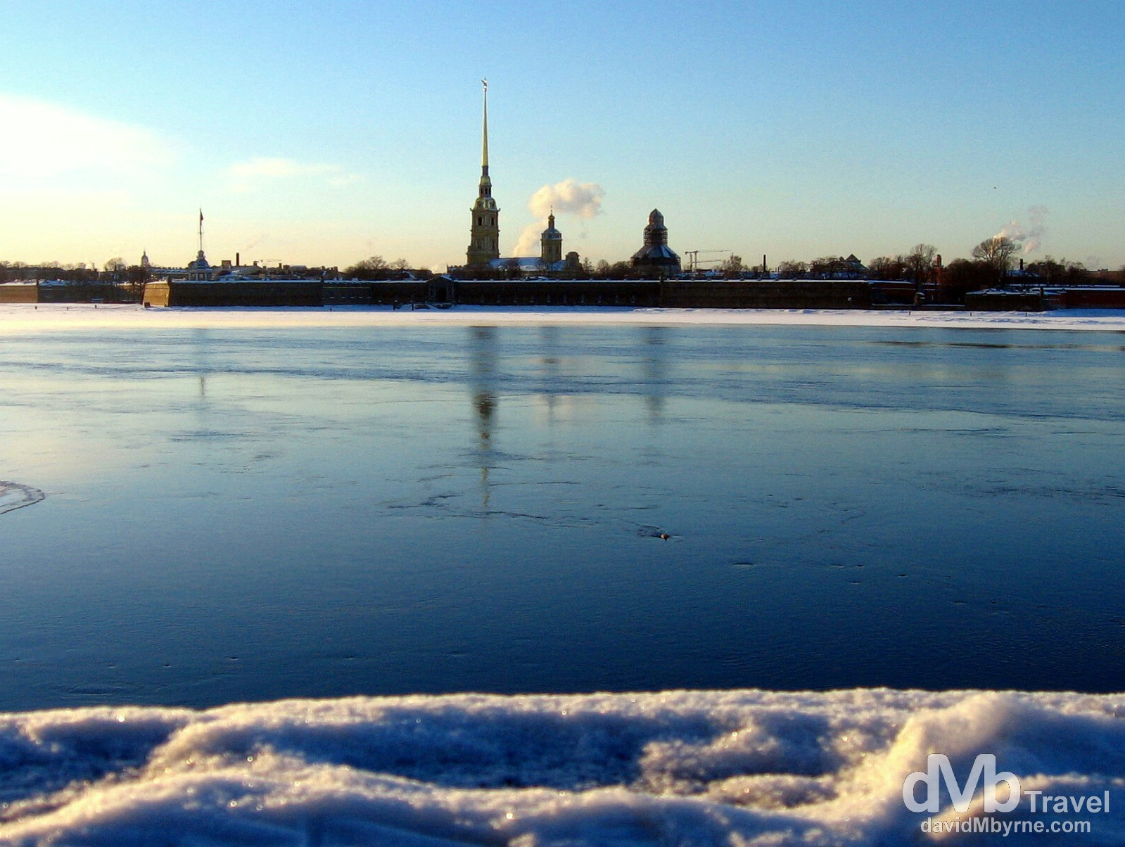 Peter & Paul Fortress on Zayachy Island as seen from the Troitsky most (bridge) over the Neva River in St Petersburg, Russia. February 27, 2006.