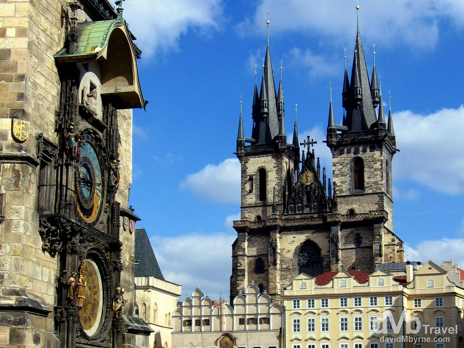 The famous Astronomical Clock of Old Town Hall & the twin towers of the Gothic Týn Church on Old Town Square, Prague, Czech Republic. March 8, 2006.