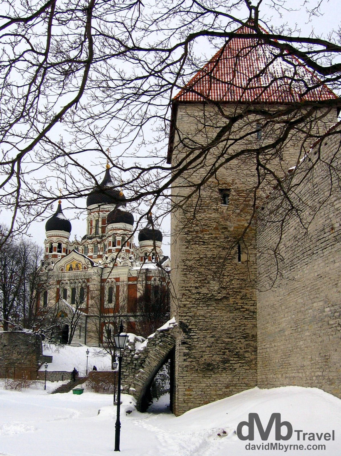 A wintry Old Town in Tallinn, Estonia. March 2, 2006.