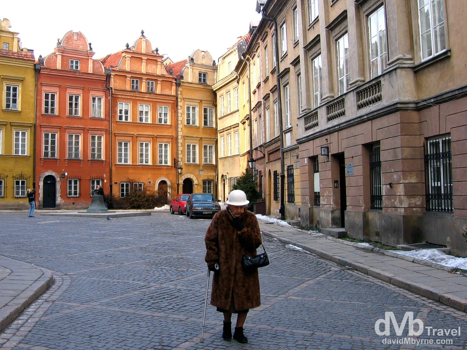 Walking on the restored, UNESCO listed streets of the Old Town district of Warsaw, Poland. March 5, 2006.