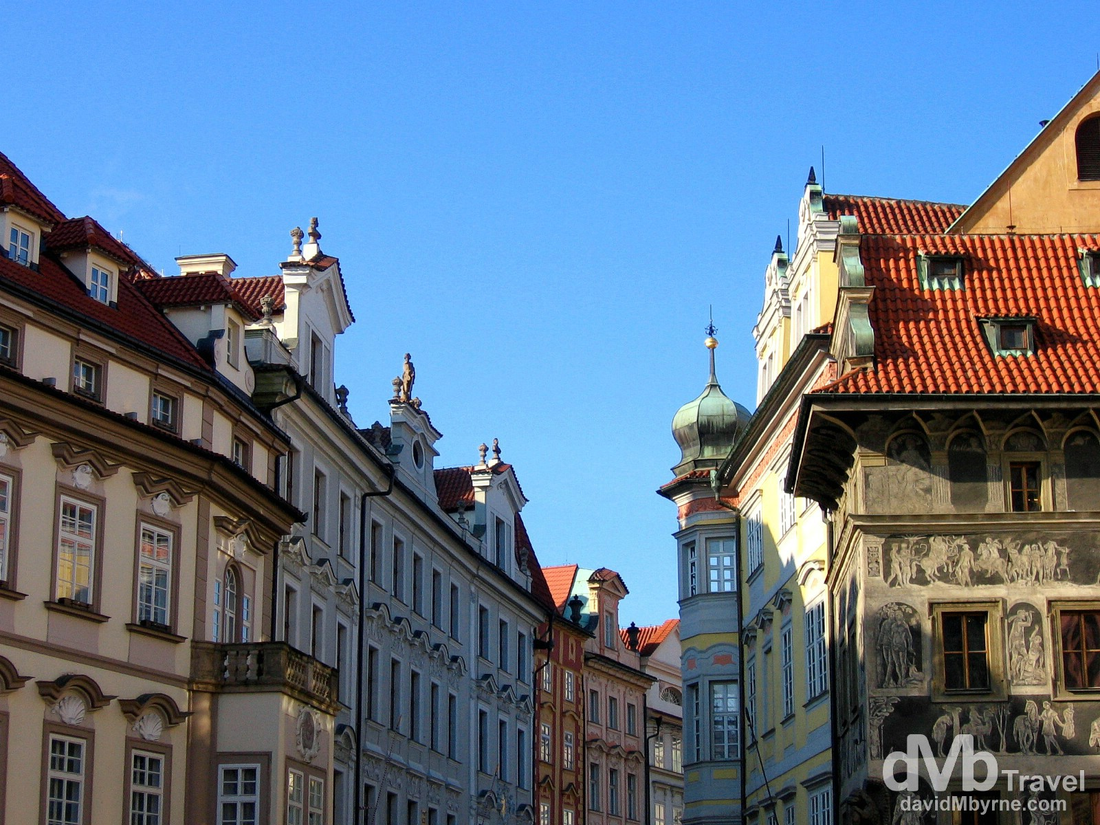 Facades of building off Old Town Square in Prague, Czech Republic. March 8, 2006.