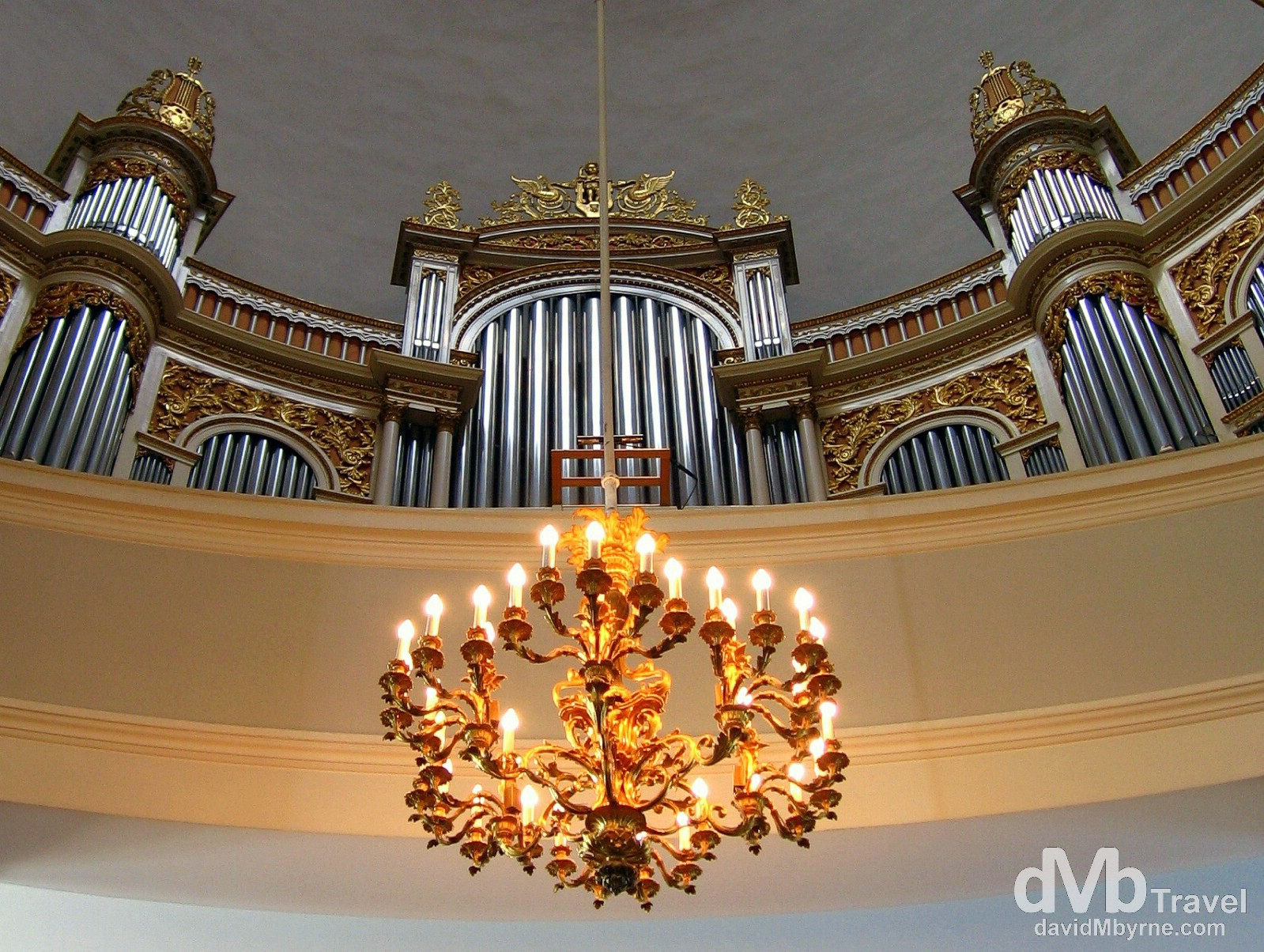 The organ of the cathedral in Helsinki, Finland. March 1, 2006.