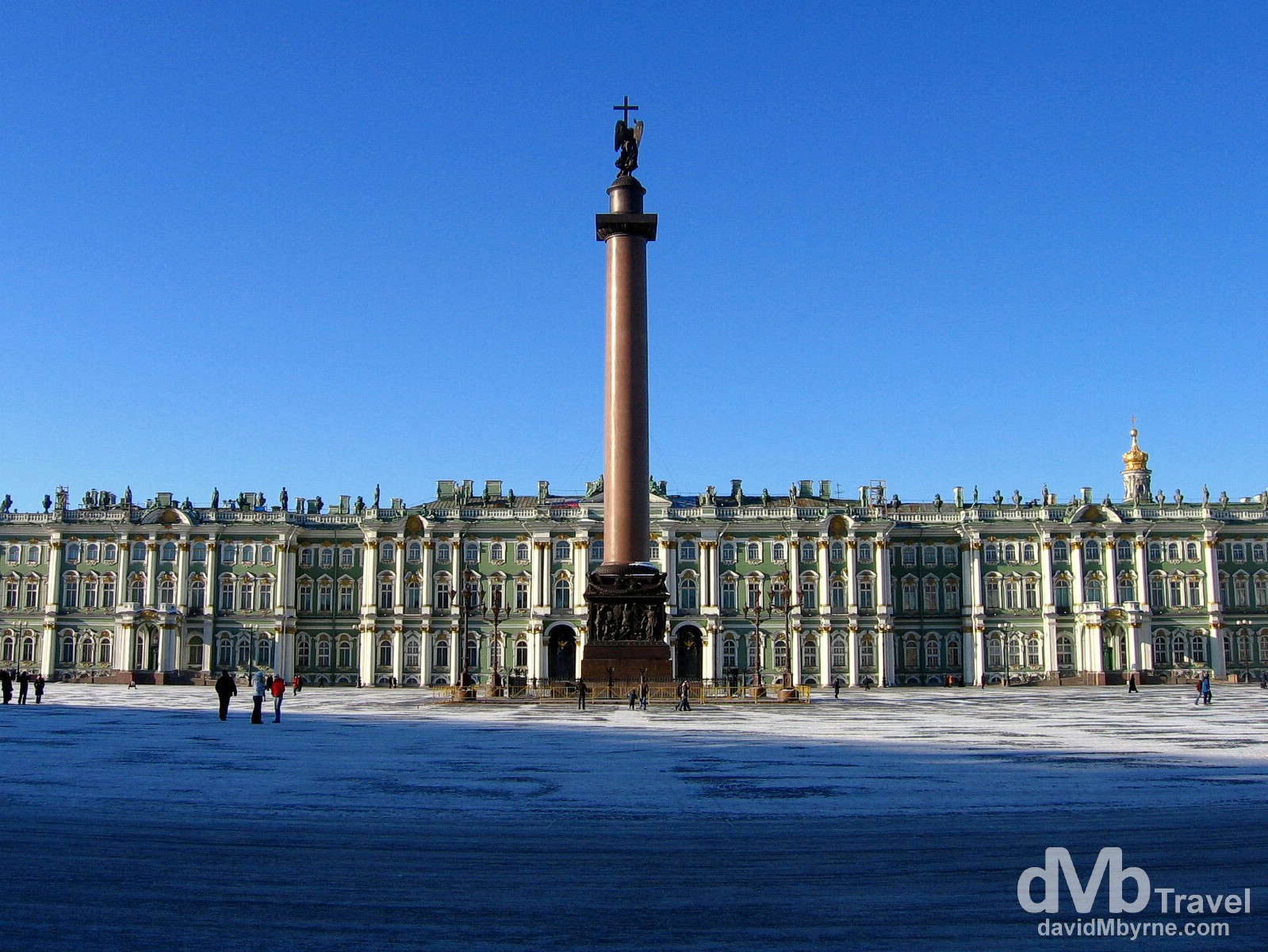 The facade of the Winter Palace & Alexander Column in as seen from Palace Square, St Petersburg, Russia. February 27, 2006.