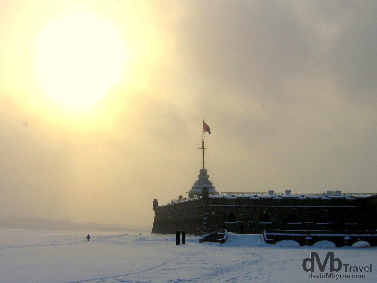 A snow blizzard outside the walls of the Peter & Paul Fortress in St. Petersburg, Russia. February 28, 2006.