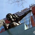 The Portlandia Statue on the facade of the Portland Building in Portland, Oregon, USA. March 28, 2013.