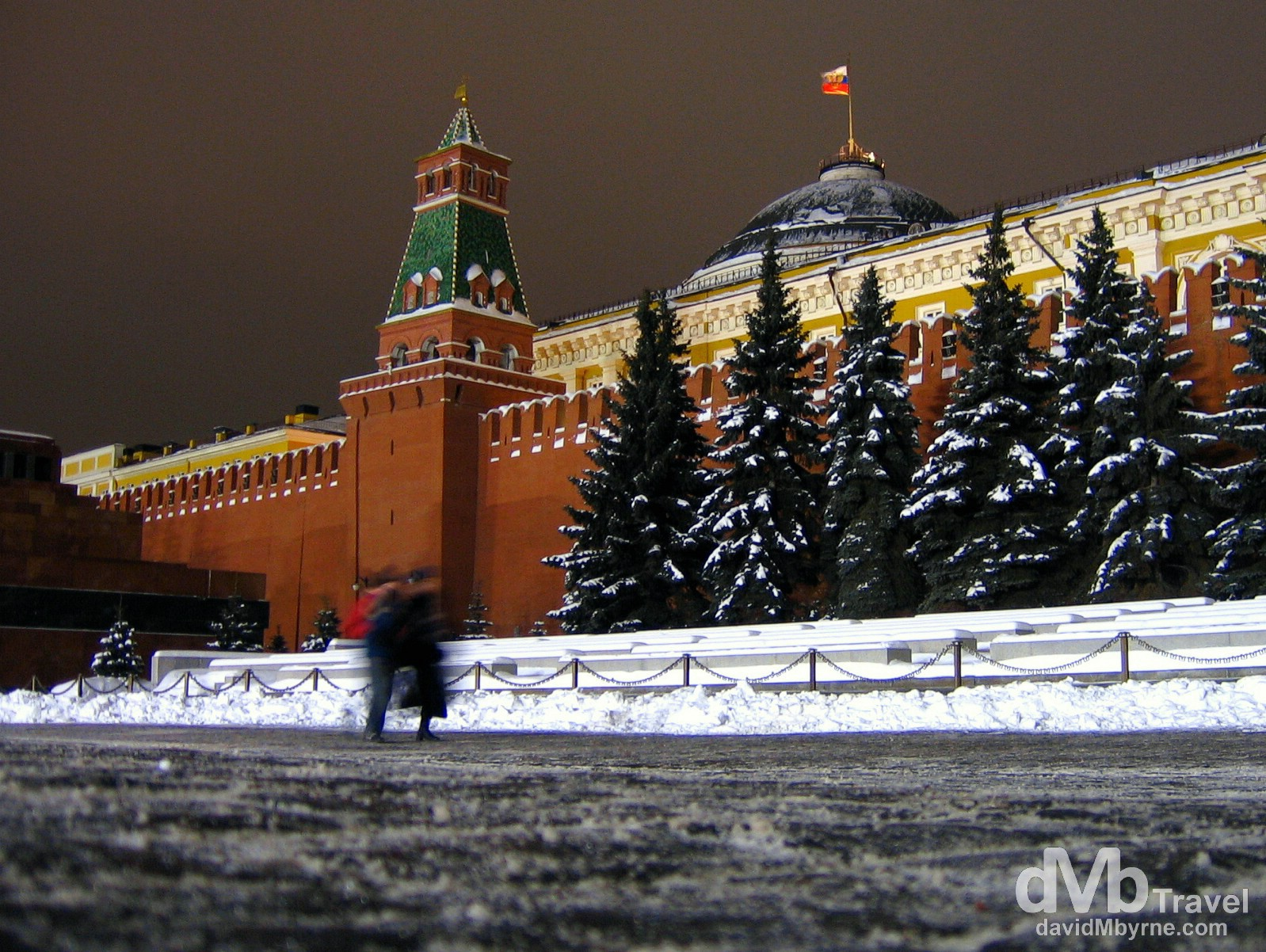 A portion of the walls of the Kremlin as seen from Red Square, Moscow, Russia. February 25, 2006.