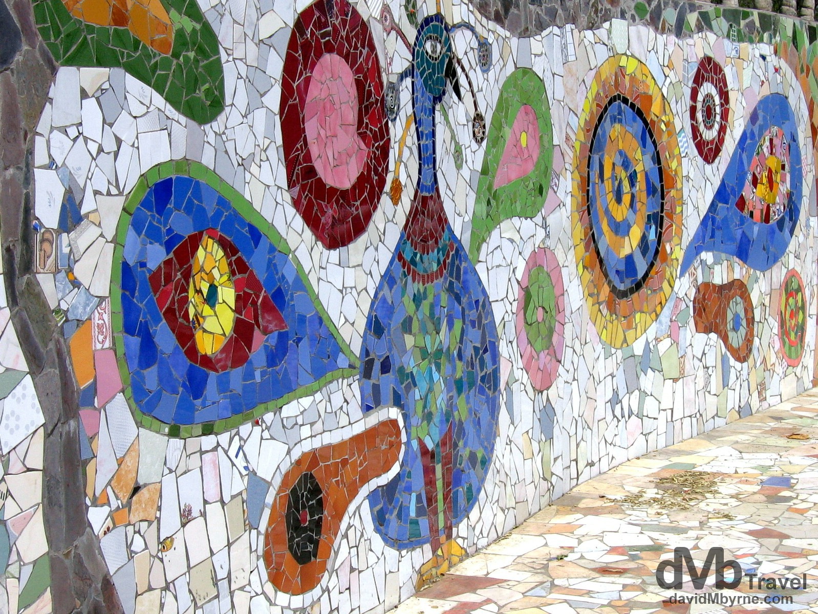Tile mosaic in the Rock Garden in Chandigarh, Punjab, India. March 23, 2008.