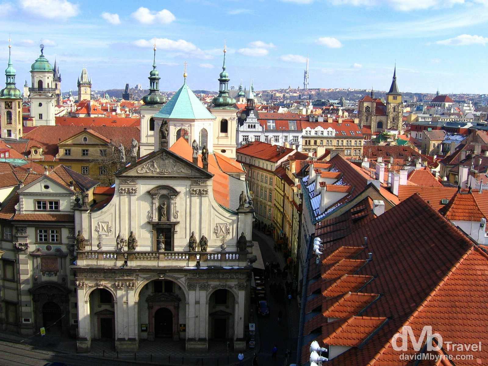 Rooftops of the Old Town of Prague as seen from the Old Town Tower of Charles Bridge, Prague, Czech Republic.