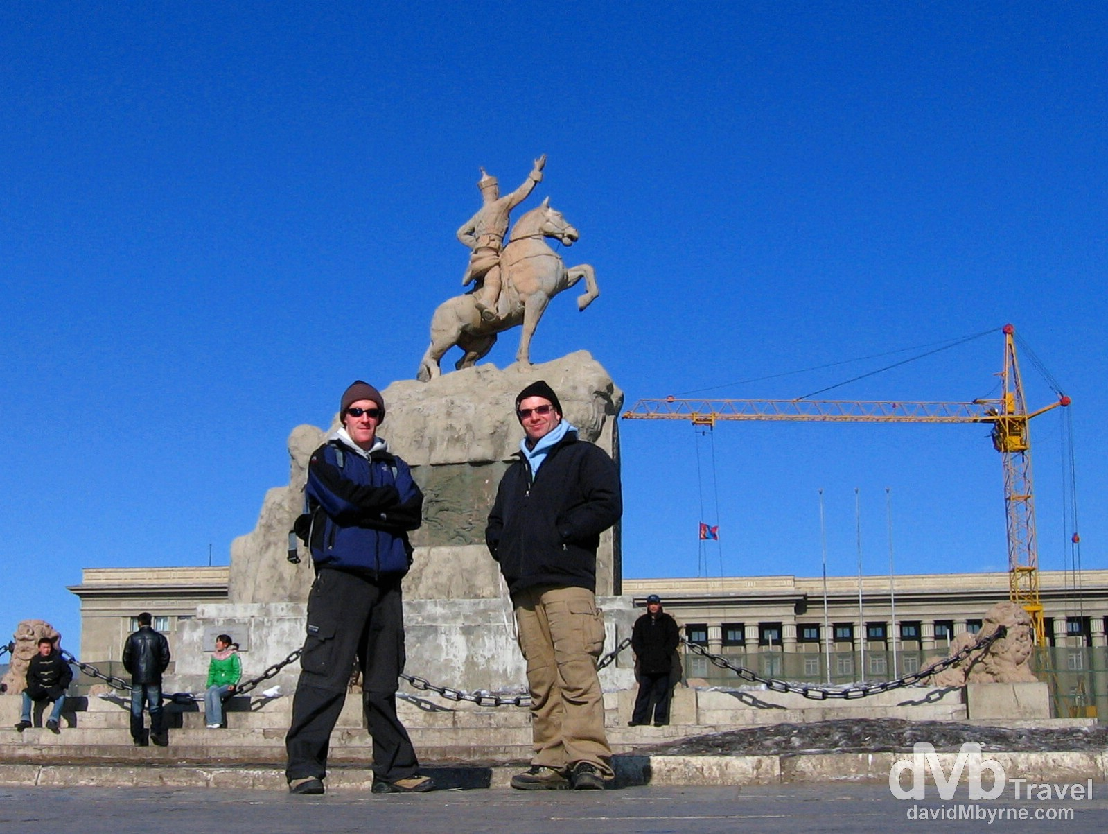 My travelling buddy Henk (right) & I and in Sükhbaatar Square, Ulan Bator, Mongolia. February 16, 2006.