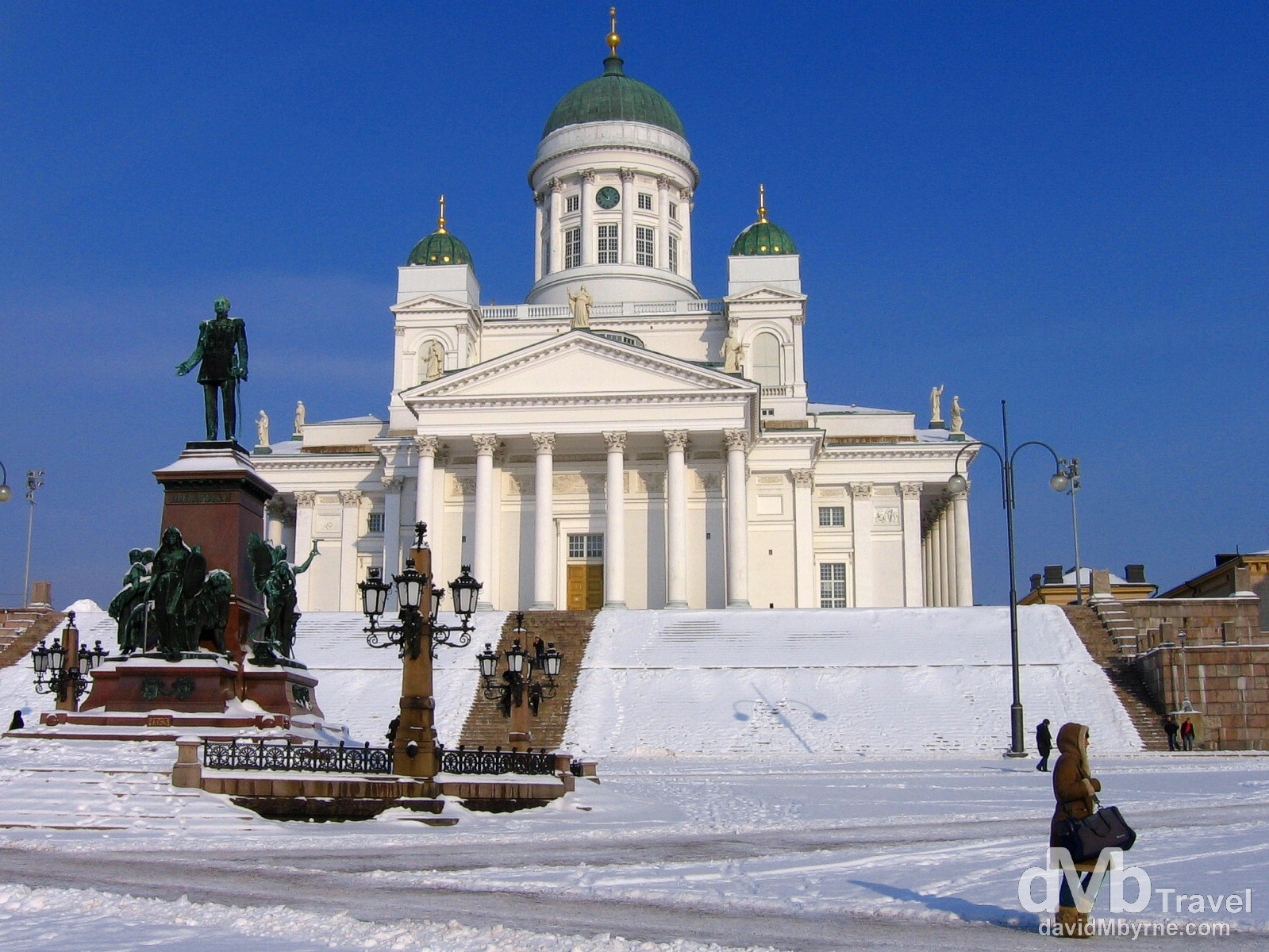 Helsinki Cathedral overlooking Senate Square in Helsinki, Finland. March 1, 2006.
