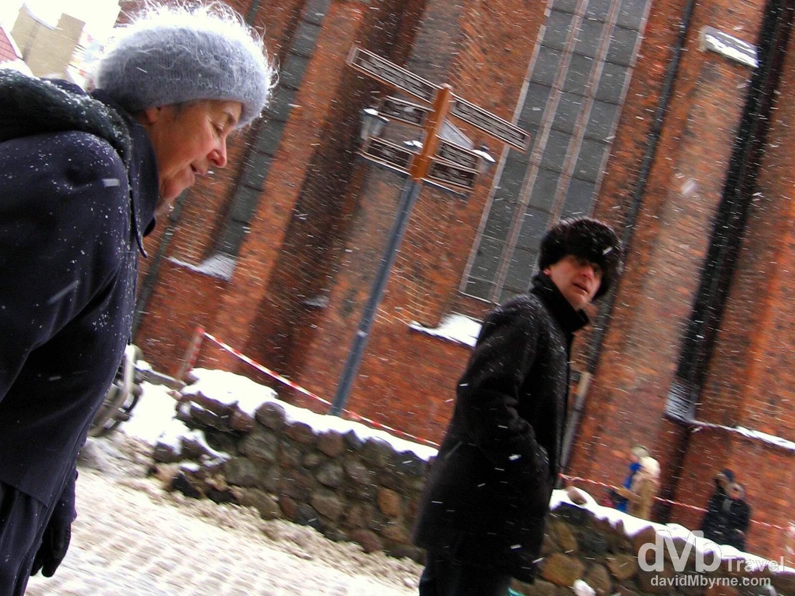 Battling a snow blizzard in Old Town, Riga, Latvia. March 3, 2006.