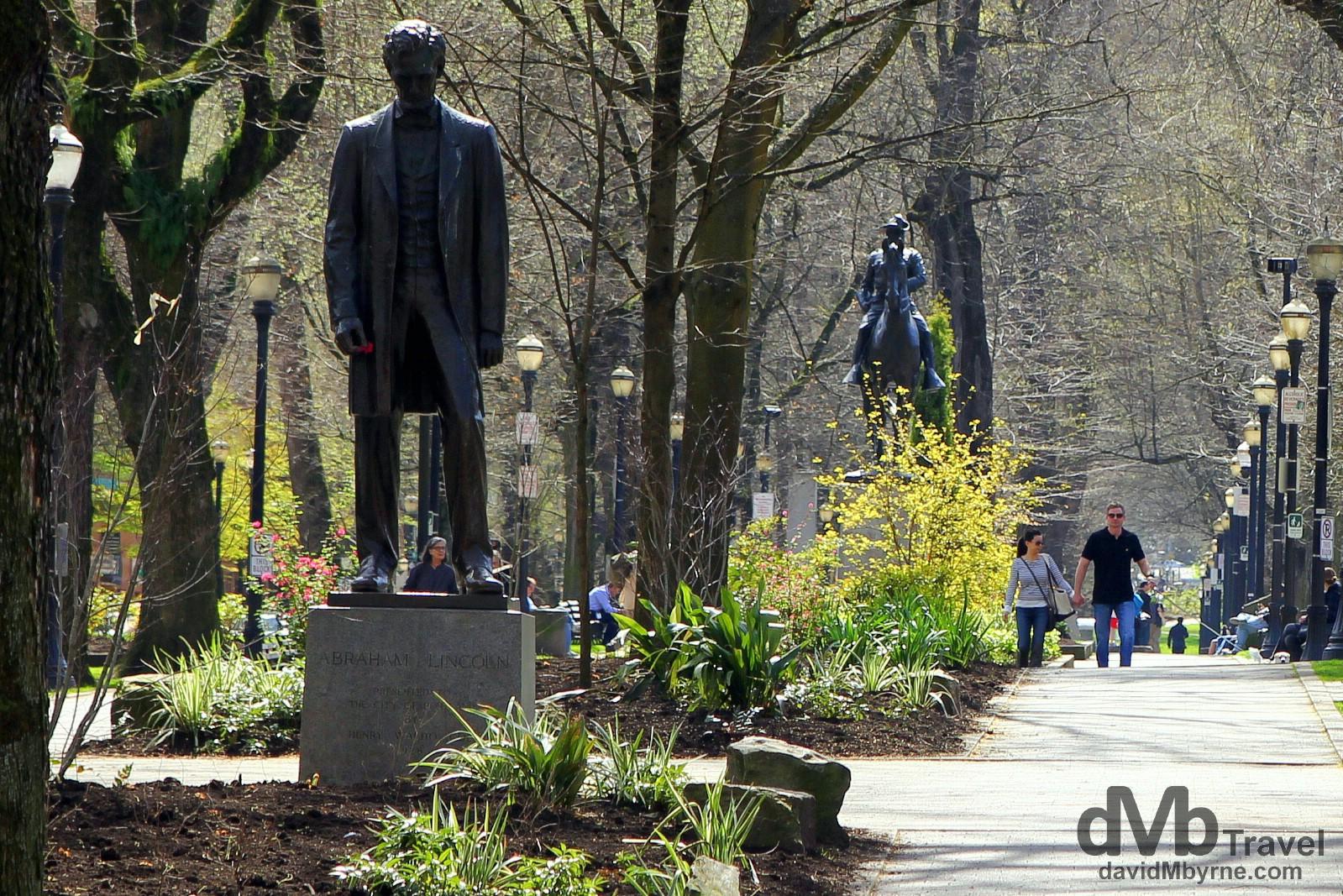 The Abraham Lincoln statue in South Park Blocks, Portland Oregon, USA. March 28, 2013.