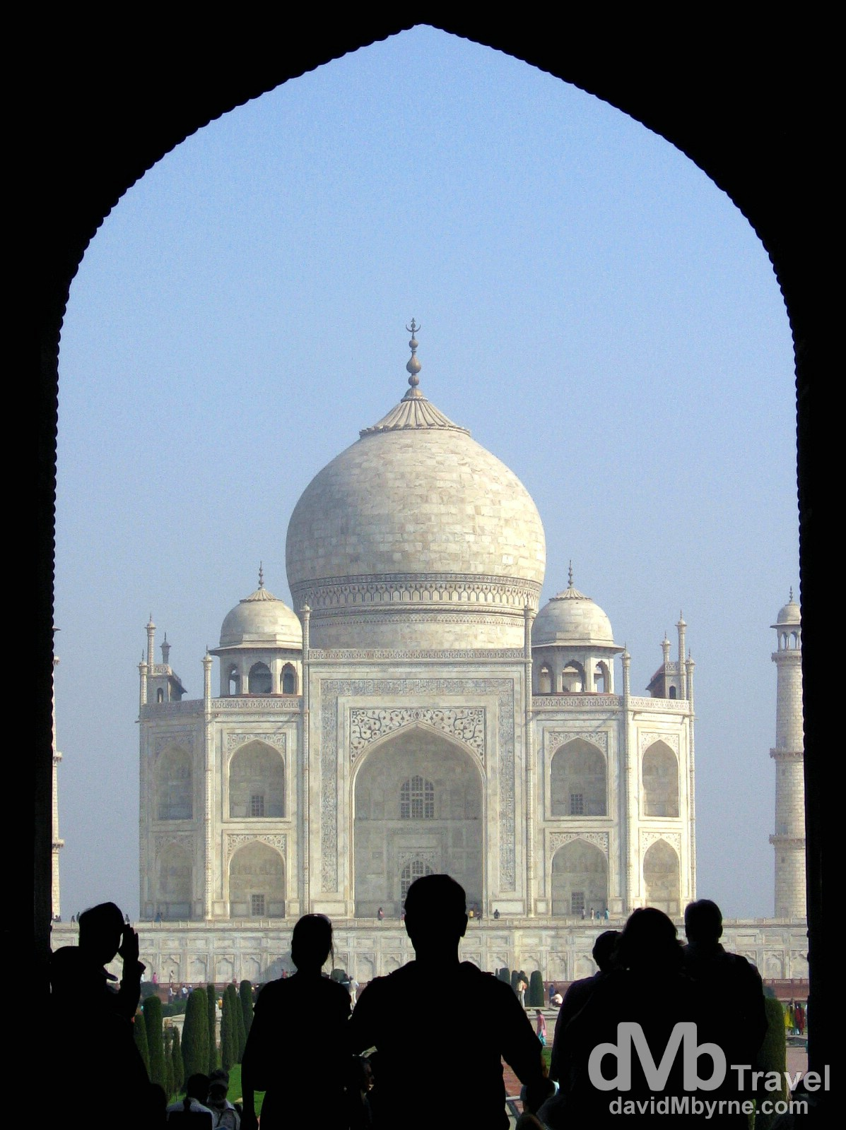 The Taj Mahal as seen from under the arch of the South Gate. Agra, Uttar Pradesh, India. March 25, 2008.