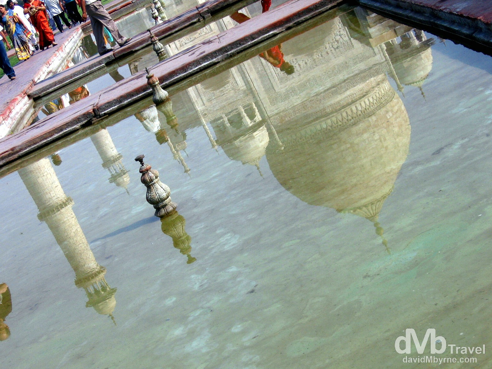 Reflections in the pool fronting the Taj Mahal, Agra, Uttar Pradesh, India. March 25, 2008.