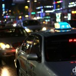 Taxis in Gangnam, Seoul, South Korea. November 18, 2010.
