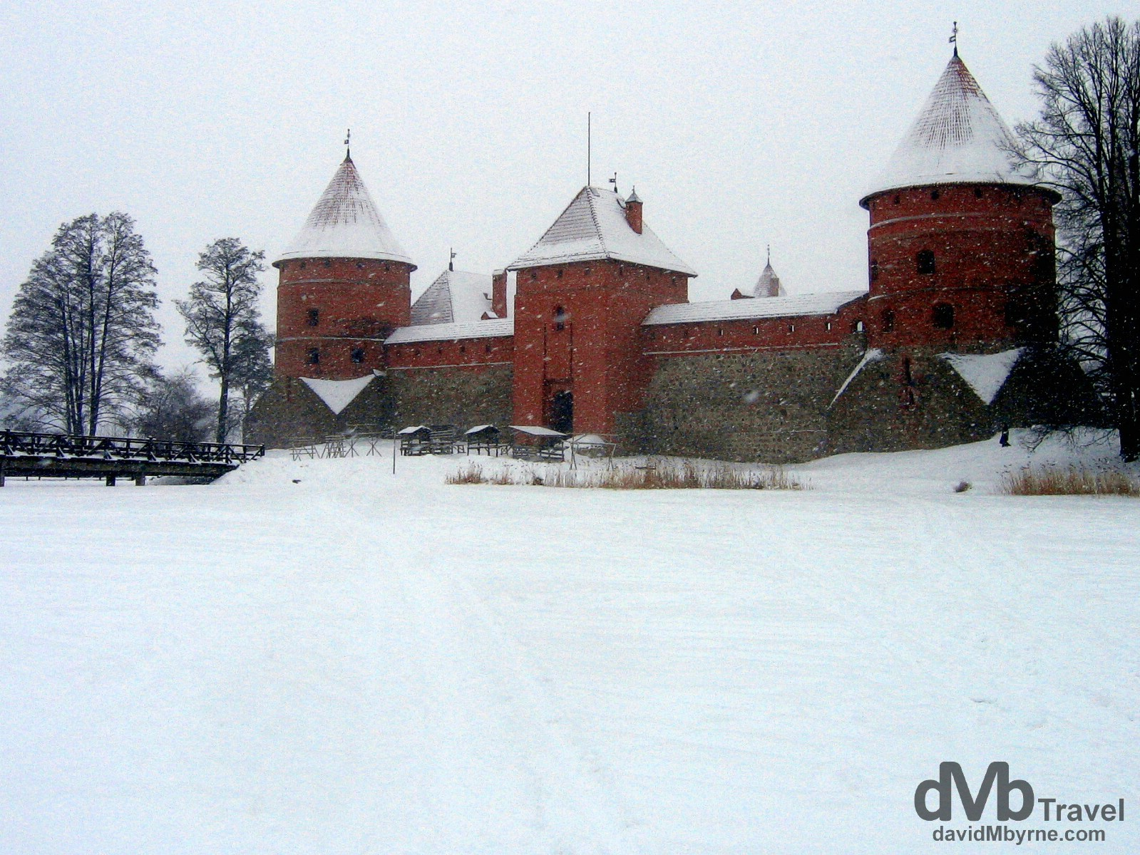 Trakai Castle as seen during a blizzard from the frozen surface of Lake Galv?. Trakai, Lithuania. March 4, 2006.