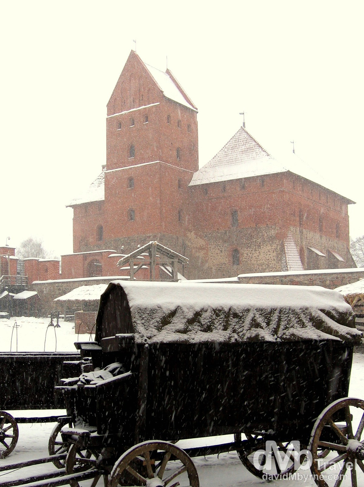 In the central courtyard of Trakai Castle during a heavy blizzard. Trakai, Lithuania. March 4, 2006.