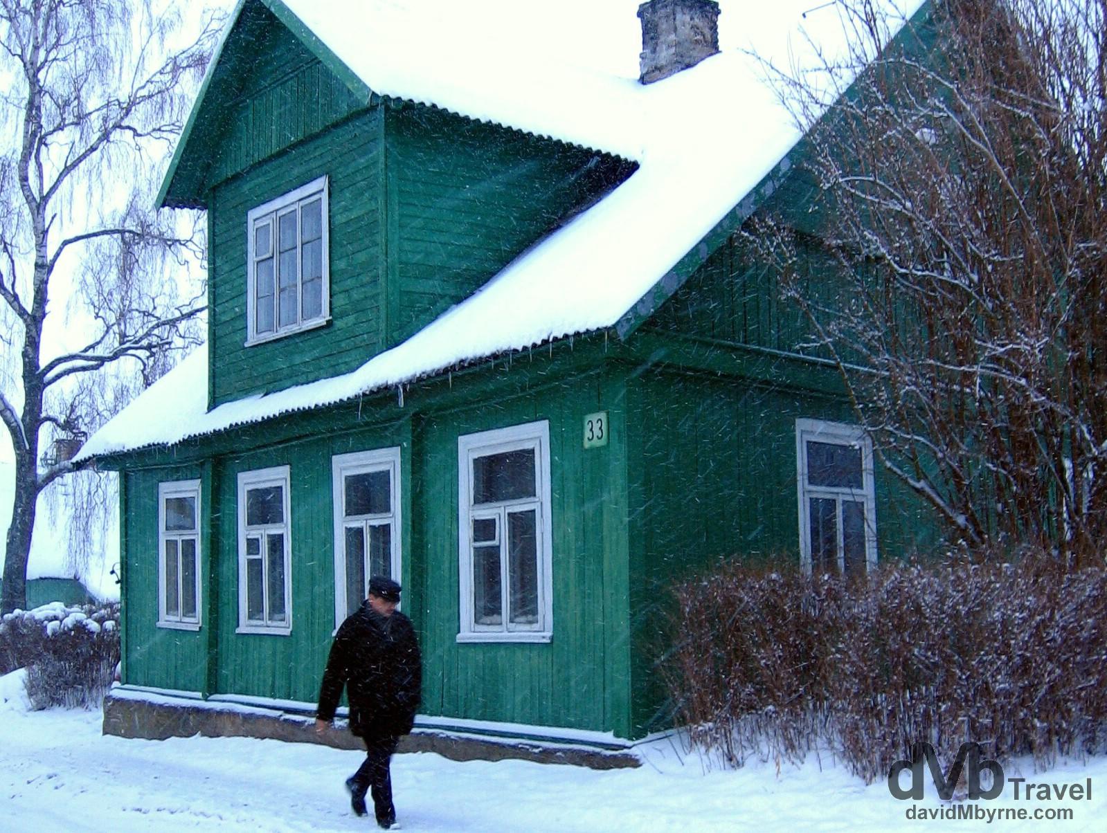 Walking through the village of Trakai during a blizzard. Trakai, Lithuania. March 4, 2006.
