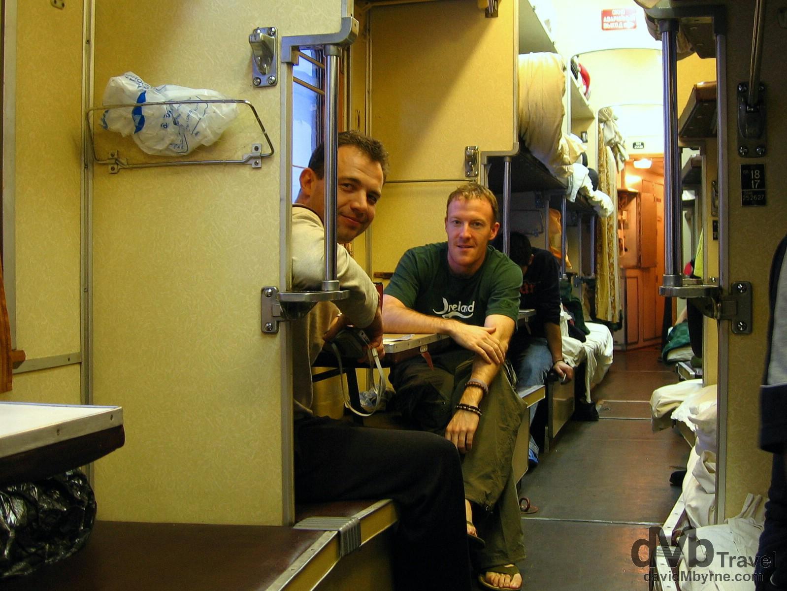 Trans-Siberian buddies en route from Irkutsk to Tyumen, Siberian Russia. February 20, 2006.