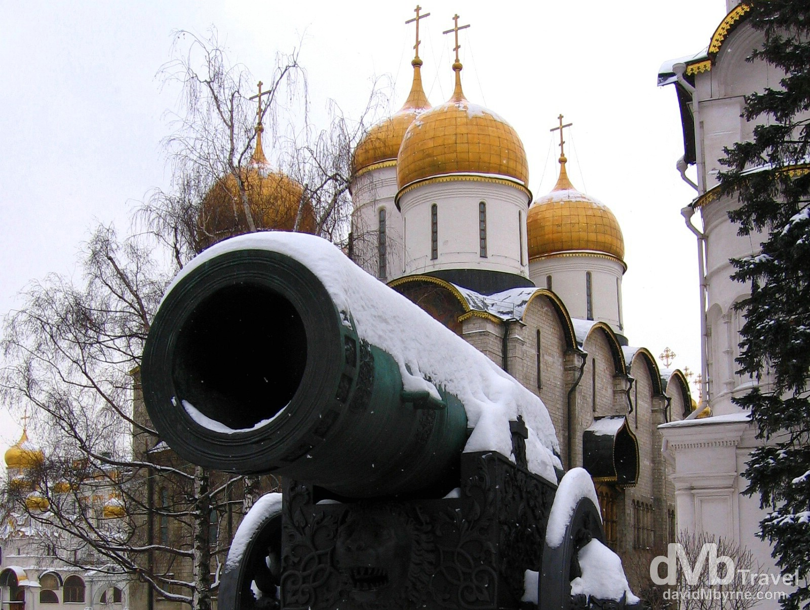 The massive Tsar Canon in front of the Assumption Cathedral in the grounds of the Kremlin in Moscow, Russia. February 26, 2006.
