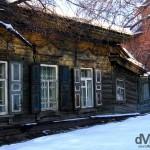 Crumbling wooden buildings on Ul Chkalova, Irkutsk, Siberian Russia. February 17, 2006.