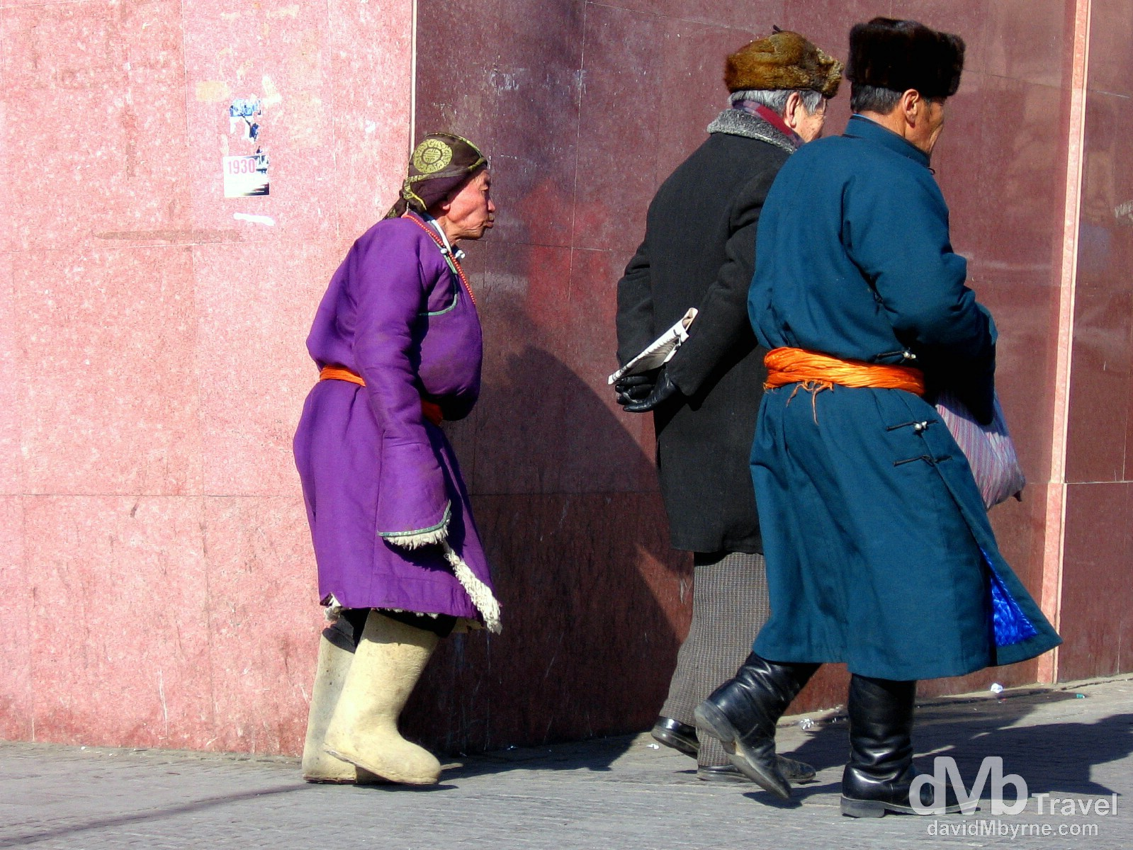Locals walking the freezing cold streets of Ulan Bator, Mongolia. February 16, 2006.