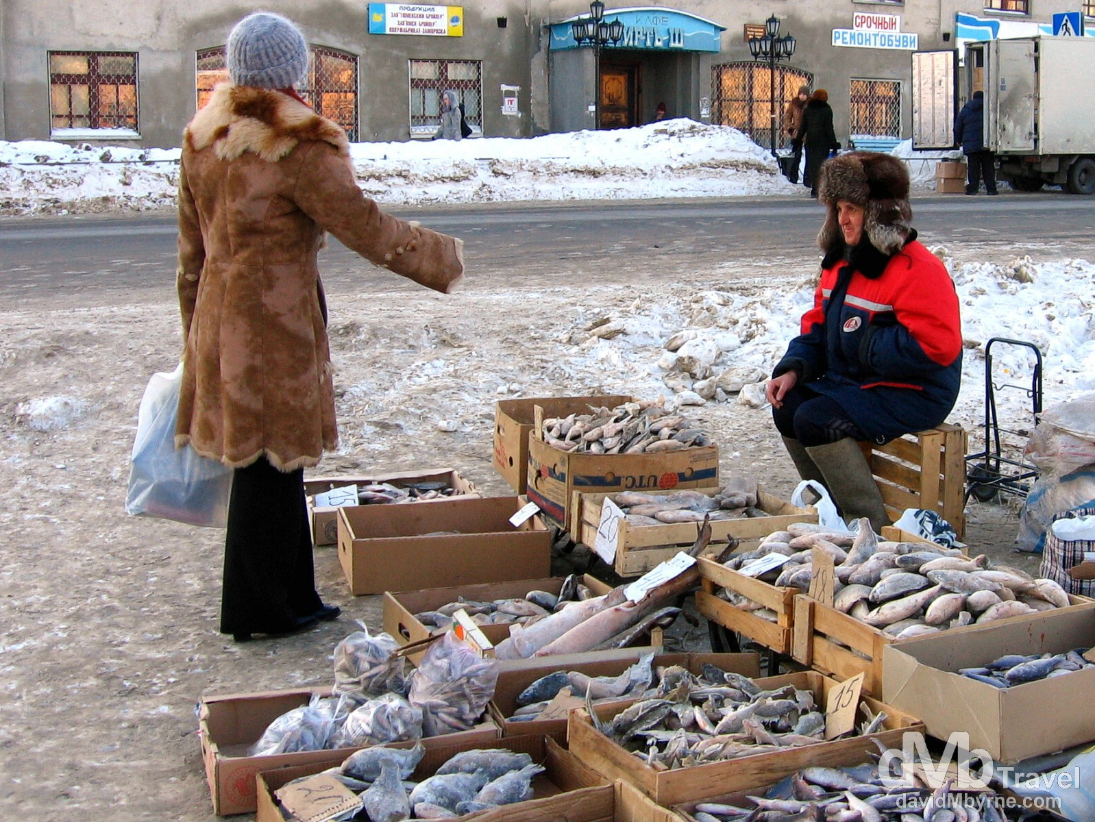 Fish for sale outside the Old Town market in Tobolsk, Siberian Russia. February 22, 2006.