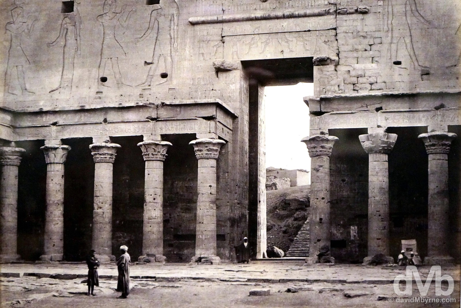 A Francis Bedford (1815-1894) capture of the Great Court of the Temple of Horus in Edfu, Egypt. Captured on March 14, 1862, & on display as part of the Cairo to Constantinople Exhibit in the Queen's Gallery of Buckingham Palace, London, England. December 14, 2014.