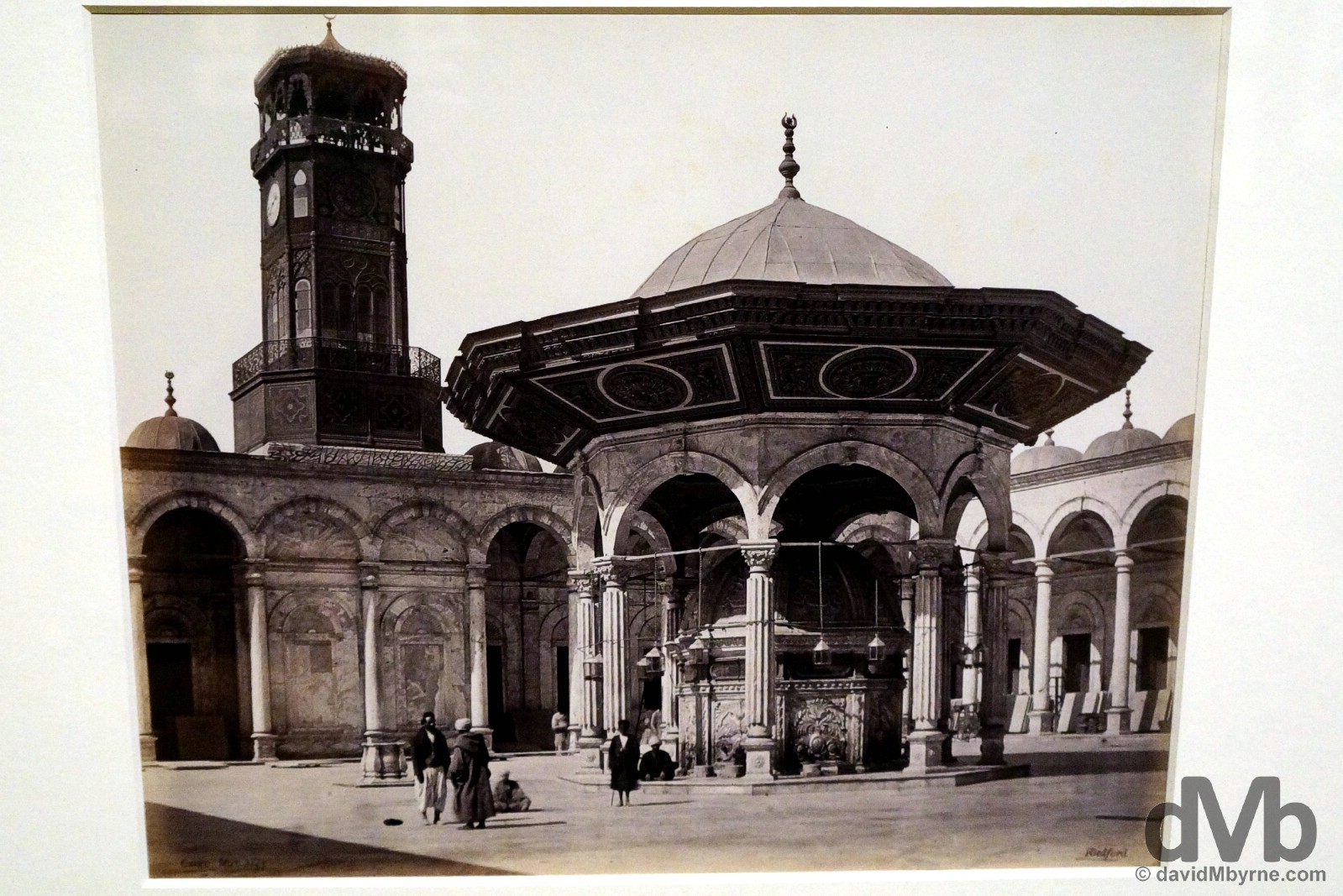 A Francis Bedford (1815-1894) capture of the fountain in the courtyard of the Mosque of Muhammad Ali in the Saladin Citadel in Cairo, Egypt. Captured on March 3, 1862, & on display as part of the Cairo to Constantinople Exhibit in the Queen's Gallery of Buckingham Palace, London, England. December 14, 2014.
