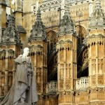 A statue & section of the fabulous Westminster Abbey in London, England. December 12, 2014.