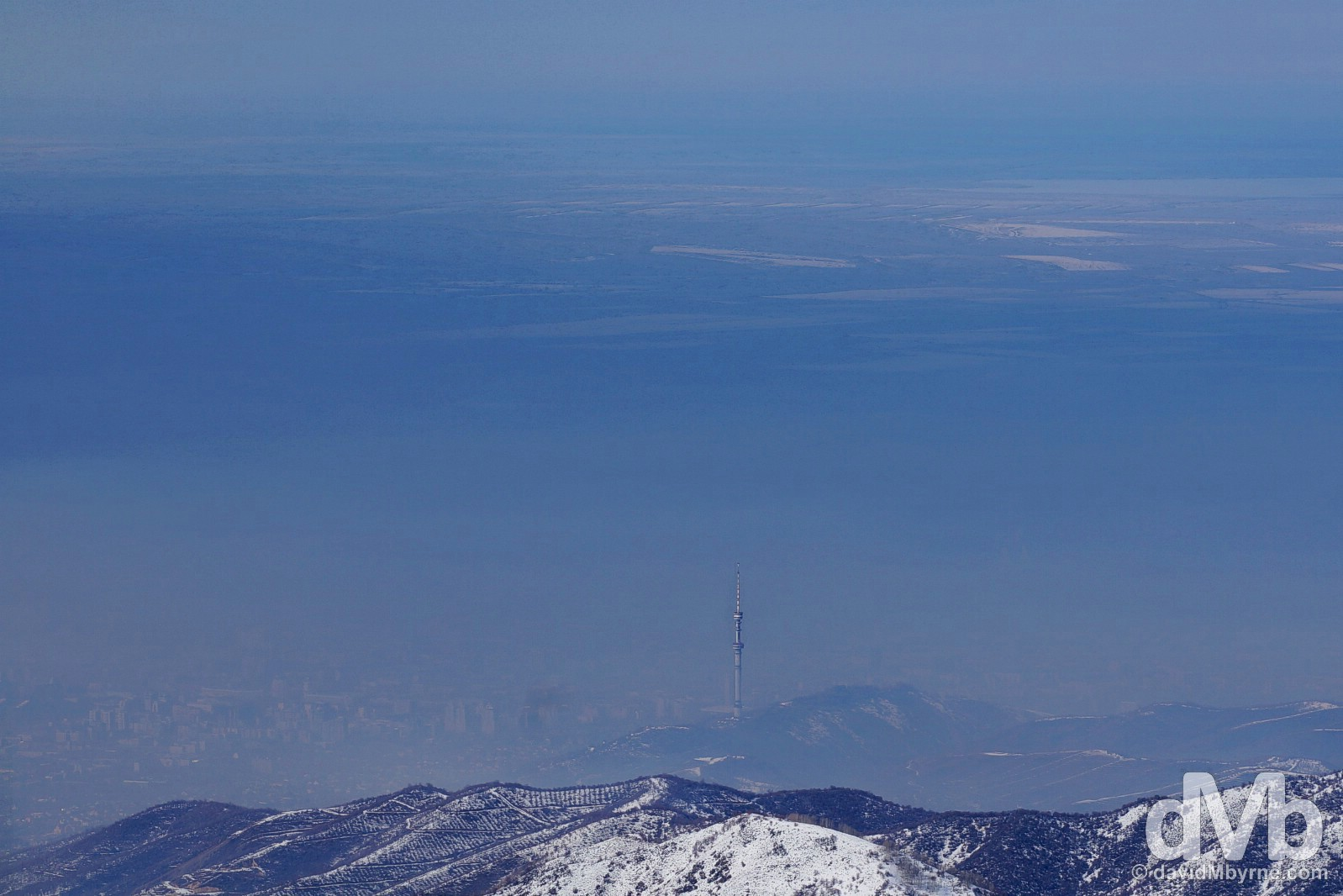 The city of Almaty as seen from the middle station of the Shymbulak Ski Resort in the Zailiysky Alatau range in southern Kazakhstan. February 14, 2015.