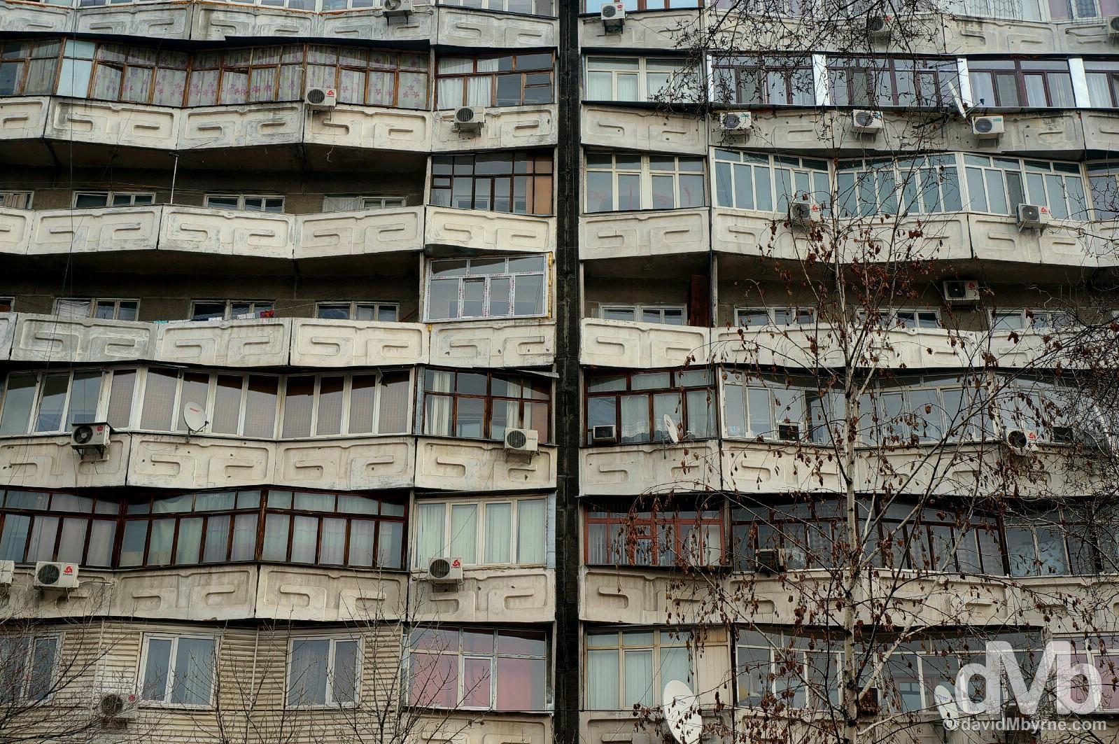 Apartment buildings on Abdrahmanov Street (Sovetskaya Street) in Bishkek, Kyrgyzstan. February 23, 2015.