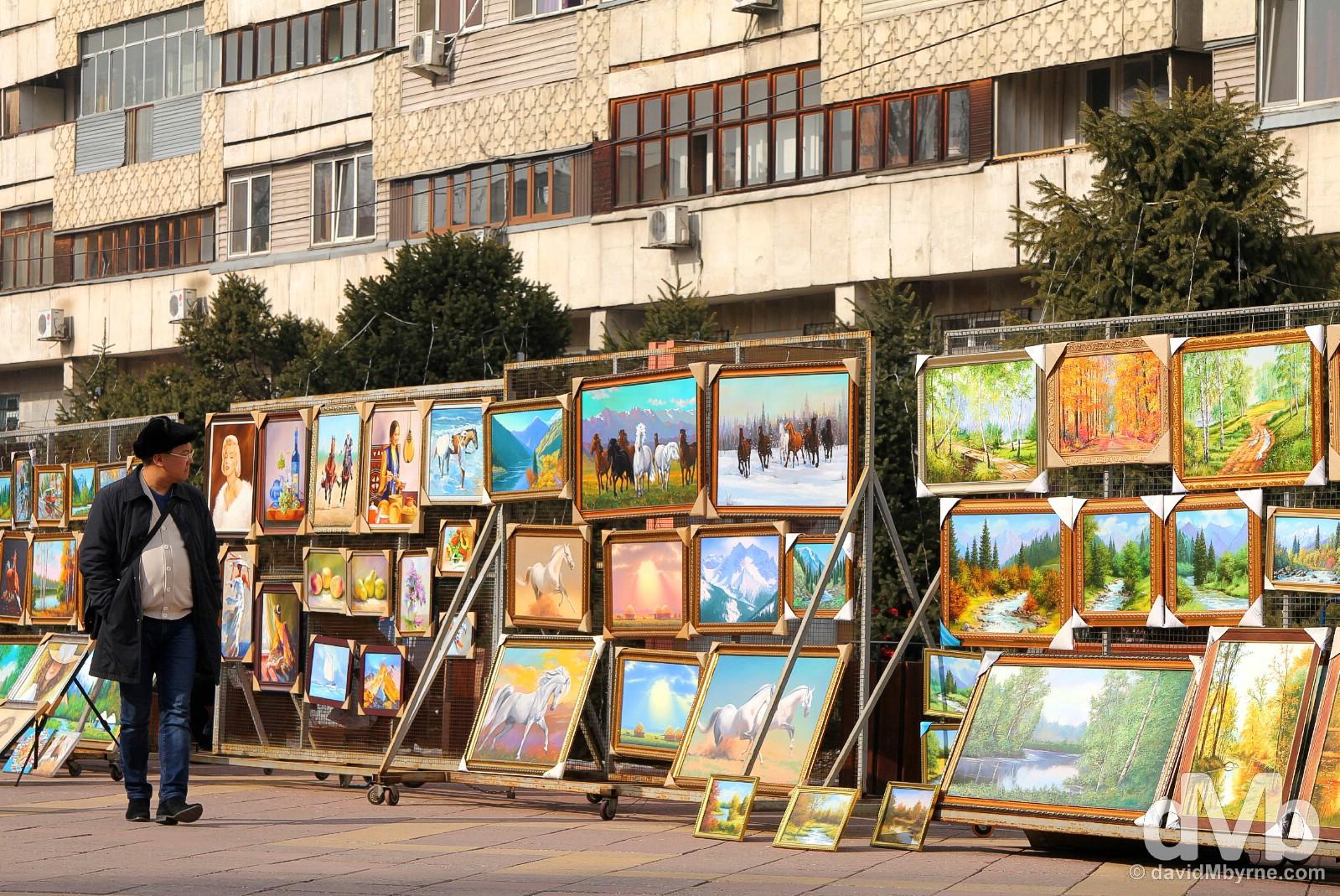 Art for sale on Zhibek Zholy in central Almaty, Kazakhstan. February 15, 2015.