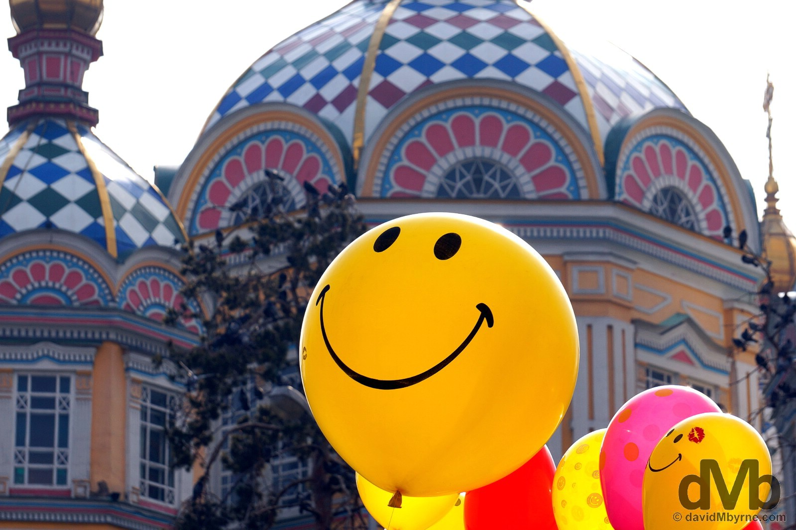 Balloons for sale in front of Zenkov Cathedral in Panfilov Park, Almaty, Kazakhstan. February 19, 2015.