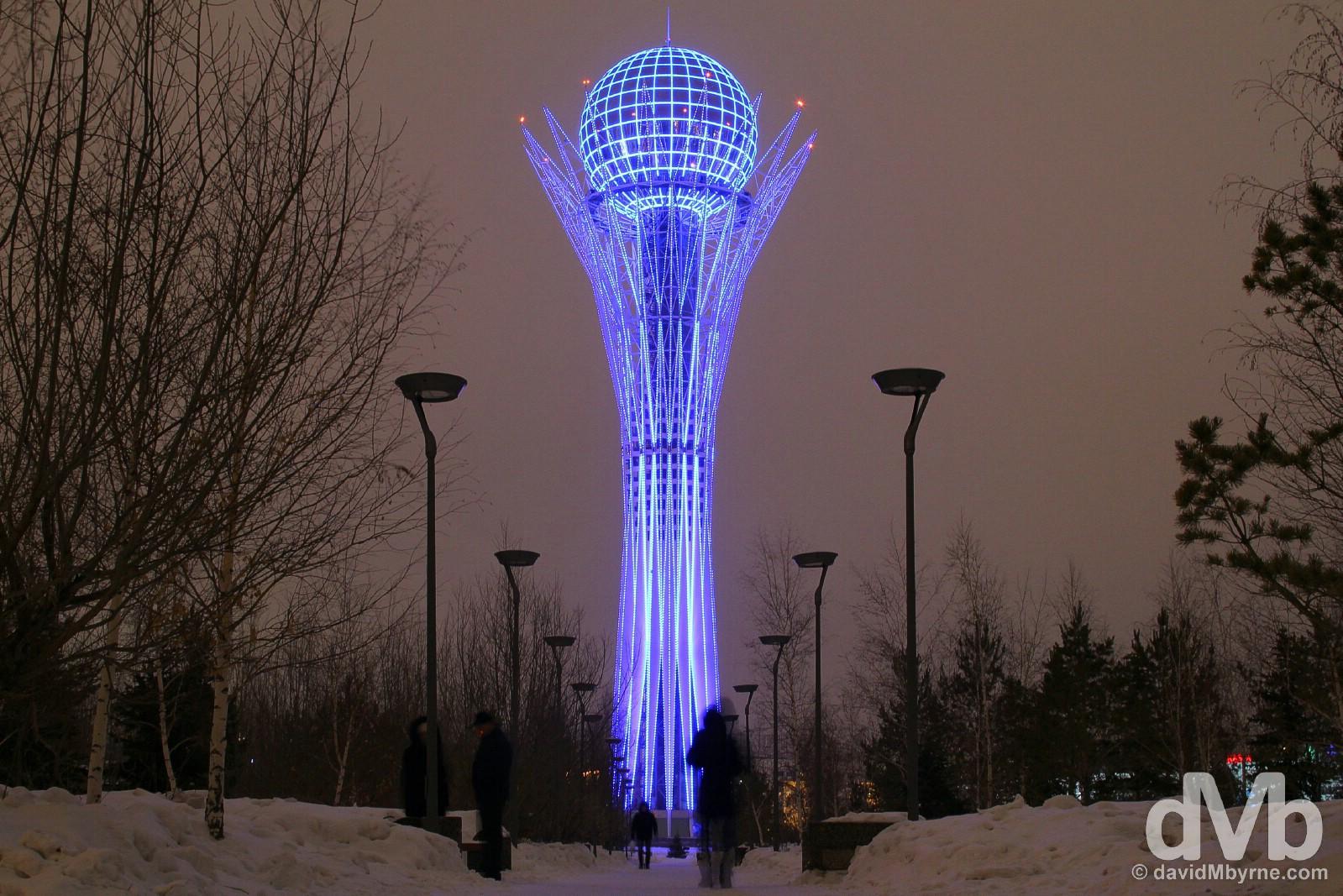 A nighttime view of the Bayterek Monument in Astana, Kazakhstan. February 16, 2015.