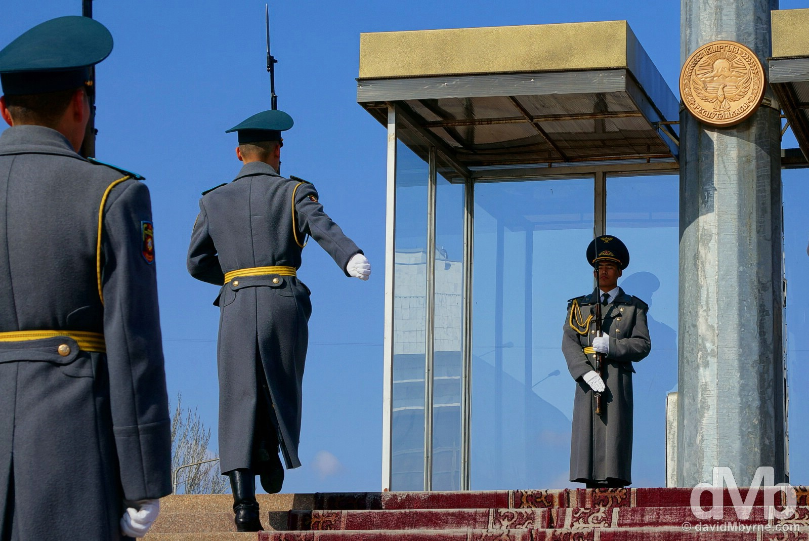 The ceremonial changing of the guard at the base of the flagpole in Ala-Too Square, central Bishkek, Kyrgyzstan. February 27, 2015.