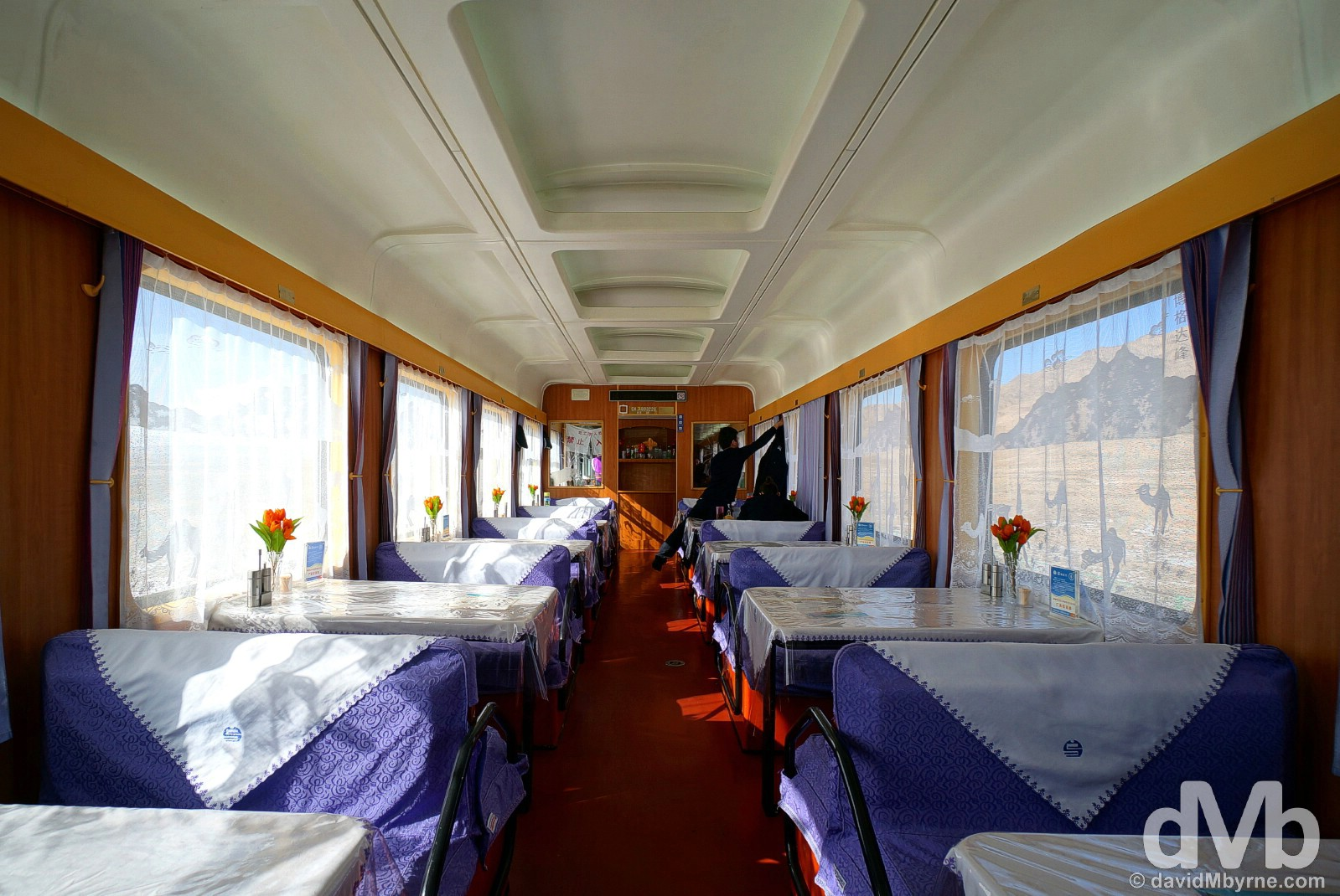The dining car of the daily T177 Beijing to Urumqi train in China. February 9, 2015.